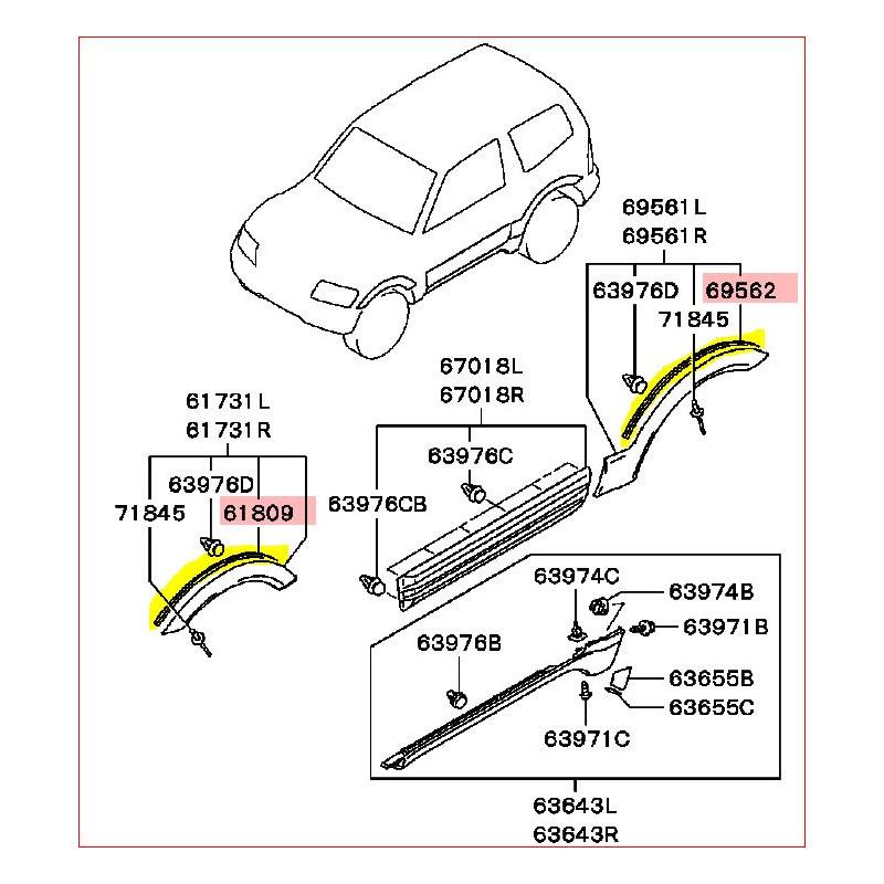 Joint Gris Entre la Carrosserie et l'Elargisseur d'Aile Avant ou Arrière Pajero 3