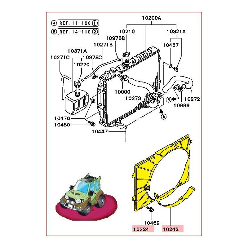 Capot et Couvercle de Radiateur Pajero 2,5L TDI V24, V44