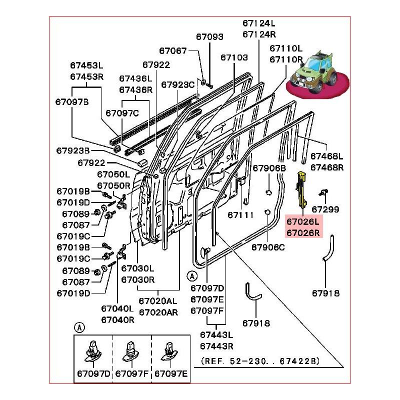 Guide Vitre de Porte Avant Droite ou Gauche Pajero 2