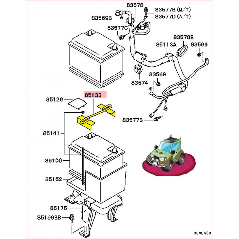 Tringle de Maintien de la Batterie Pinin