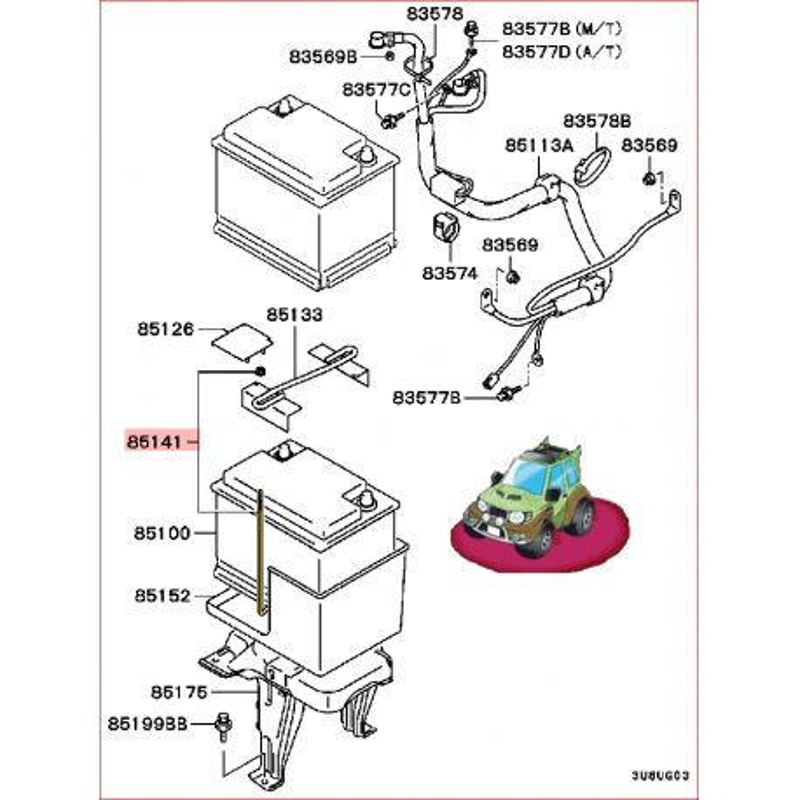 1 Kit de Boulon en L de Tringle de Maintien de la Batterie Pinin